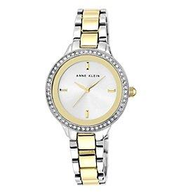 Anne Klein® Two-tone Bracelet Watch with Swarovski Crystal Bezel