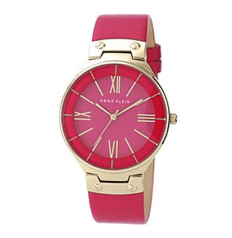 Anne Klein Magenta Leather Strap Watch