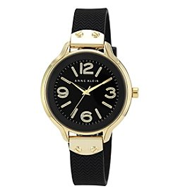 Anne Klein® Goldtone Case Watch with Black Silicone Strap