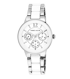 Anne Klein® Silvertone and White Ceramic Link Watch