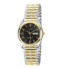 Armitron Men's Easy-to-Read Black Dial Two-Tone Expansion Band Watch