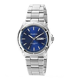 Armitron Men's Blue Dial Stainless Steel Silvertone Bracelet Watch
