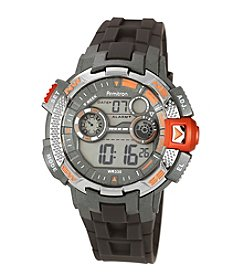 Armitron Men's Metallic Orange Accented Grey Resin Strap Digital Chronograph Sport Watch