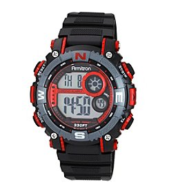 Armitron Men's Red Accented Black Resin Strap Digital Chronograph Sport Watch