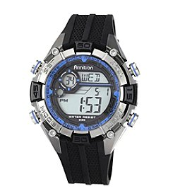 Armitron Men's Blue and Silvertone Accented Black Resin Strap Digital Chronograph Sport Watch