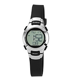 Armitron Unisex Stainless Steel Accented Black Resin Strap Digital Chronograph Sport Watch