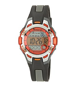 Armitron Unisex Orange Accented Grey Resin Strap Digital Sport Watch