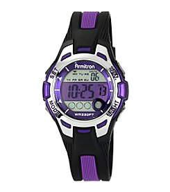Armitron Unisex Purple Accented Black Resin Strap Digital Sport Watch