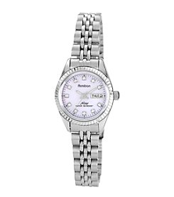 Armitron Women's Crystal Accented Silvertone Pink Mother-of-Pearl Dial Watch