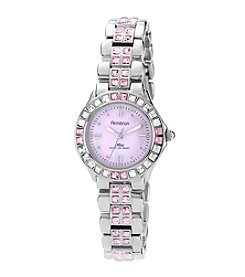 Armitron Women's Pink Crystal Accented Silvertone Watch