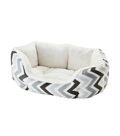 John Bartlett Pet Grey Chevron Small Round Cuddler Pet Bed