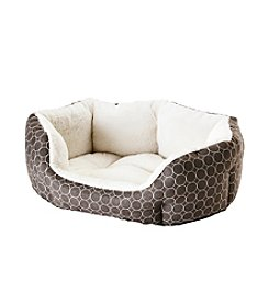 John Bartlett Pet Brown Circles Small Round Cuddler Pet Bed