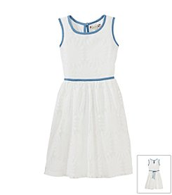 Speechless® Girls' 7-16 White Dress with Chambray Trim