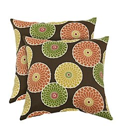 Greendale Home Fashions Set of Two Flowers on Chocolate Outdoor Accent Pillows