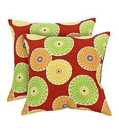 Greendale Home Fashions Set of Two Flowers on Red Outdoor Accent Pillows