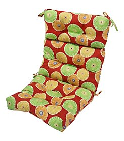 Greendale Home Fashions Flowers on Red Outdoor High Back Chair Cushion