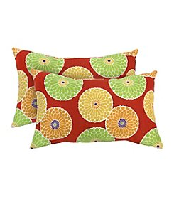 Greendale Home Fashions Set of Two Flowers on Red Rectangle Outdoor Accent Pillows