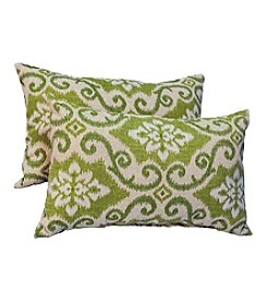 Greendale Home Fashions Set of Two Green Ikat Rectangle Outdoor Accent Pillows