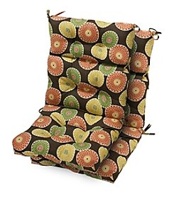 Greendale Home Fashions Set of Two Flowers on Chocolate Outdoor High Back Chair Cushions