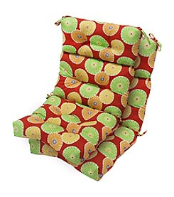 Greendale Home Fashions Set of Two Flowers on Red Outdoor High Back Chair Cushions