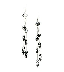 BT-Jeweled Jet Two Bead Linear Drop Earrings