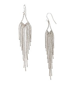 Steve Madden Silvertone/Crystal Multi Chain Chandelier Earrings