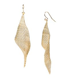 Steve Madden Goldtone Mesh Triangle Drop Earrings