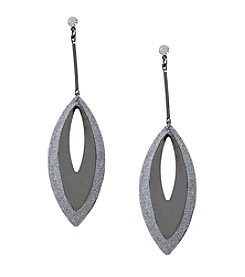 Steve Madden Hematite-Look/Silvertone Oval Long Drop Earrings
