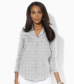 Lauren Active® Three-Quarter-Sleeved Polka-Dot Dress Shirt