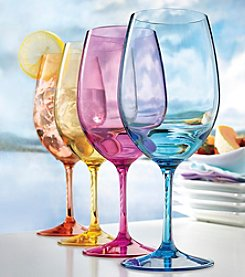 Wine Enthusiast Indoor and Outdoor Set of 4 Mixed Color Wine Glasses