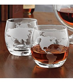 Wine Enthusiast Etched Globe Set of 2 Whiskey Glasses