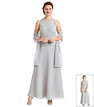 J Kara® Floral Beaded Dress With Shawl