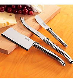 Wine Enthusiast Jean Dubost Laguiole 3-pc. Stainless Steel Cheese Knife Set