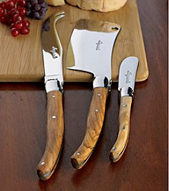 Wine Enthusiast Jean Dubost Laguiole 3-pc. Olivewood Cheese Knife Set
