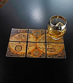 Wine Enthusiast Set of Six Antique Map Leather Coasters