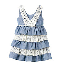 Bonnie Jean® Girls' 2T-4T Blue Sleeveless Tiered Chambray and Lace Dress