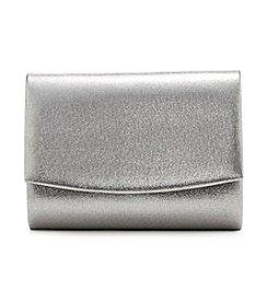 La Regale® Silver Metallic Flap Clutch
