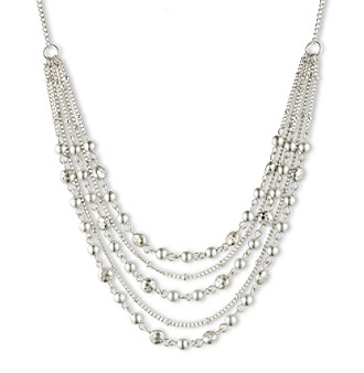 Nine West Vintage America Collection® Worn Silvertone Multi-Row Bead Necklace