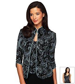 Alex Evenings® Mandarin Collar Printed Twinset
