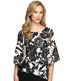 Alex Evenings® Tiered Hem Printed Blouse