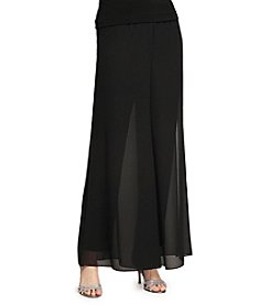 Alex Evenings® Matte Jersey Pants with Georgette Overlay