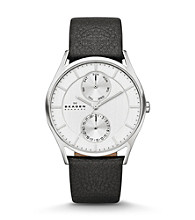 Skagen Denmark Men's Silvertone Watch with Black Leather Strap