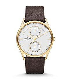 Skagen Men's Goldtone Watch with Brown Leather Strap