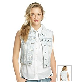 Hippie Laundry Light Wash Destructed Denim Vest