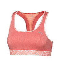 PUMA® Striped Racerback Sports Bra With Printed Trim