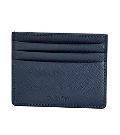 Calvin Klein Men's Navy 'Saffiano' Leather Credit Card Case