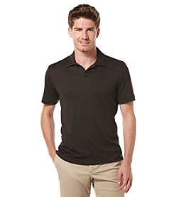 Perry Ellis® Men's Dark Brown Short Sleeve Rib Knit Polo Shirt