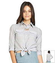 BCBGeneration™ Denim Tie Waist Shirt