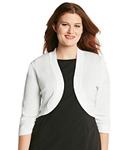 Jessica Howard Plus Size Three Quarter Sleeve Shrug