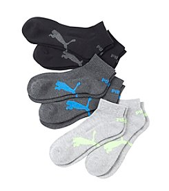 PUMA® Men's 6-pack Black Quarter Cut Socks